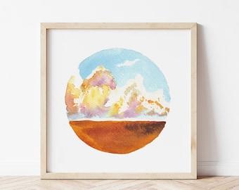 Sunset Wheat Field Fine Art Print - Rustic Watercolor Landscape Painting - Farmhouse Home Decor - Dreamy Art Print