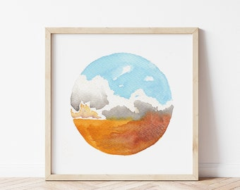 Cloudy Field Landscape Painting - Wheat Field Landscape Print - Rustic Watercolor Art Print - Farmhouse Wall Art