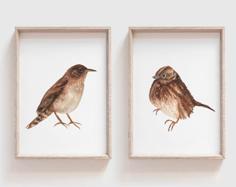 Little Brown Bird Art Print Set of Two - Watercolor Bird Painting Pair - Song Sparrow and House Wren Wall Decor - Gift for Bird Lovers