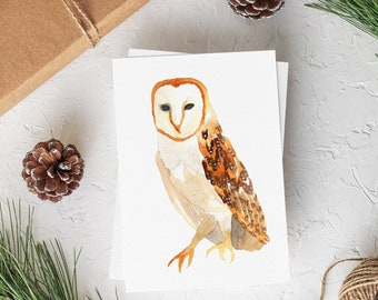 Barn Owl Note Card Set - Blank Owl Card For All Occasions - Watercolor Owl Stationery - Gift for Owl Lovers