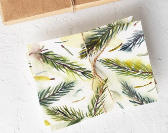 Watercolor Evergreen Cards - Boxed Set of Holiday Cards - Botanical Christmas Cards Set - Blank Tree Cards for Winter Holidays - Spruce Twig