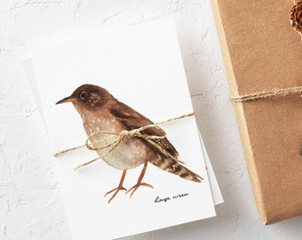 House Wren Note Cards - Types of Birds Greeting Cards - Note Card Set for Bird Lovers - Little Brown Bird Card