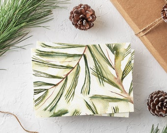Watercolor Pine Tree Cards - Boxed Set of Holiday Cards - Botanical Christmas Cards Set - Blank Evergreen Cards for Winter Holidays