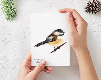 Chickadee Cards - Black Capped Chickadee Note Card Set - Gift for Bird Lovers - Watercolor Bird Cards