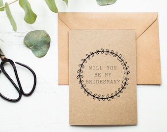 Rustic Bridesman Card - Will You Be My Bridesman - Male Wedding Attendant Card - Bridesman Proposal Card - Bridal Party Invitation - Brown