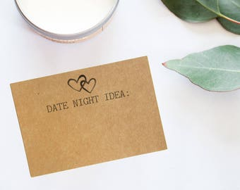 Date Night Cards - Date Night Idea Cards - Cards for Date Night Jar - Hearts Bridal Shower - Rustic Bridal Shower - Printed Date Night Cards