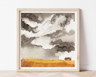 Watercolor Farm Painting - Prairie Painting Fine Art Print - Landscape Wall Art