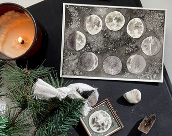 Luxe Moon Art Gift Set - Original Watercolor Painting and Hand Painted Ornament - Gift For Art Lover - Full Moon Phase Wall Art Decor