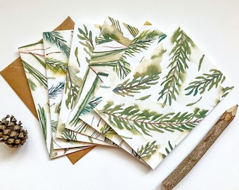 Assorted Watercolor Evergreen Note Card Set - Boxed Set of Christmas Cards - Blank Holiday Cards - Pine, Spruce & Fir Botanical Stationery