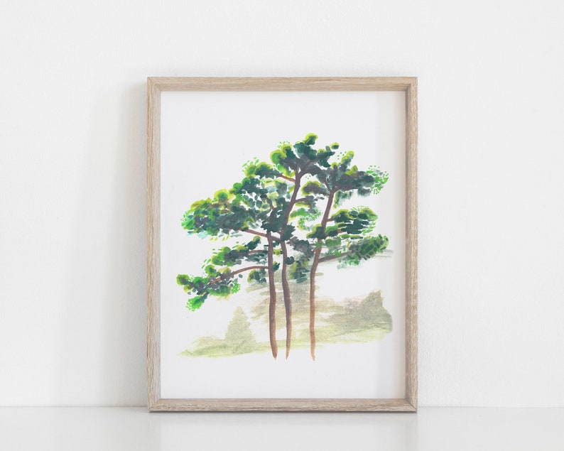 Printable Nature Art  Watercolor Pine Trees Painting  Forest image 0