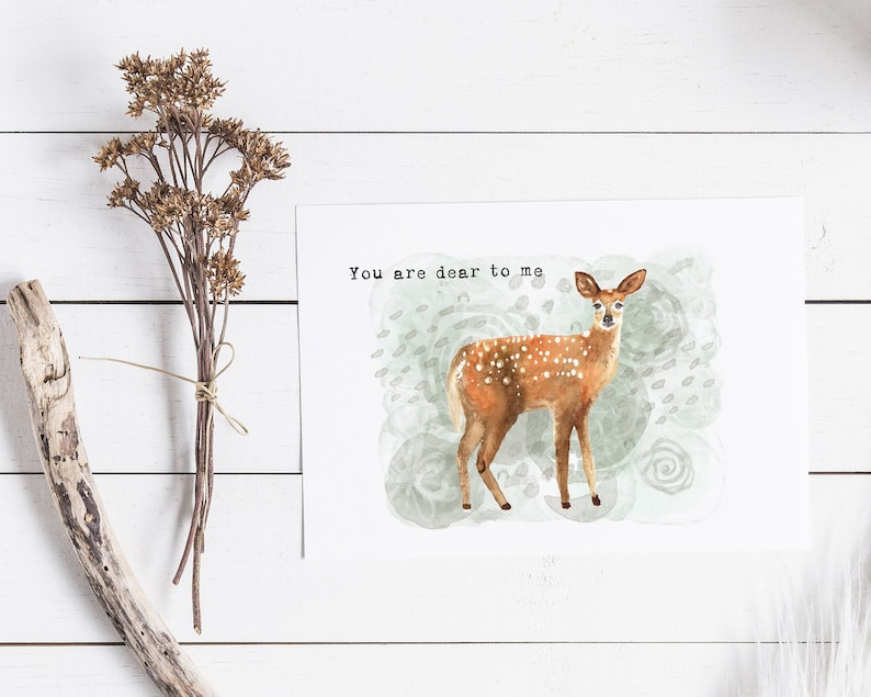 You Are Dear To Me Card  Love & Friendship Card  Watercolor image 0