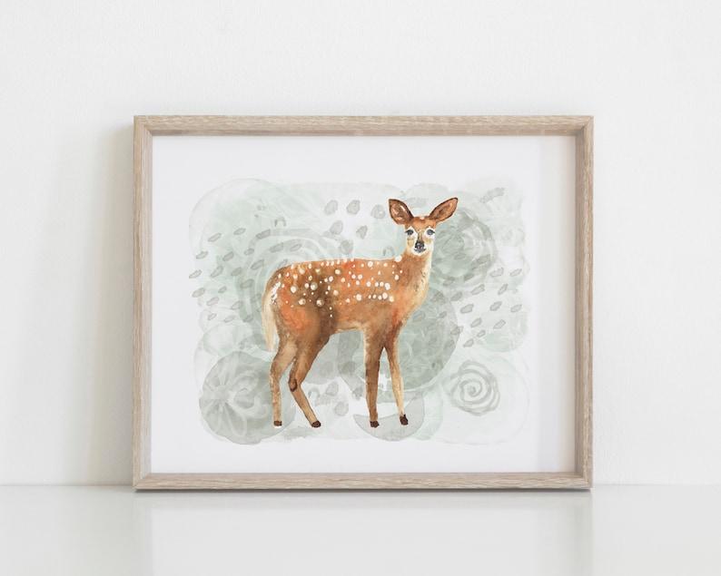 Deer Watercolor Art Print  Nature Art Print  Noble Deer image 0