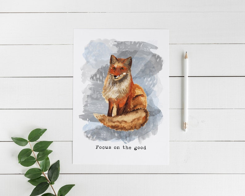 Focus on the Good Card  Red Fox Card  Watercolor Fox Card  image 0