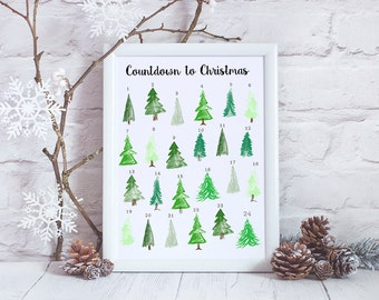 DIY Advent Calendar - Printable Advent Calendar - Countdown to Christmas - Christmas Tree Advent Calendar - Reusable Calendar - Instant PDF
