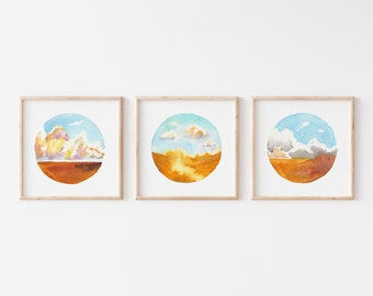 Golden Prairie Landscape Set of 3 - Watercolor Fine Art Prints - Wheat Field Art for Farmhouse Home Decor - Cloud Wall Art