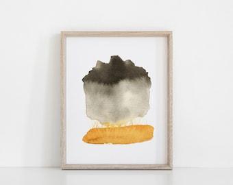 Abstract Landscape Print - Rain Cloud Over Prairie Watercolor Painting - Fine Art Print