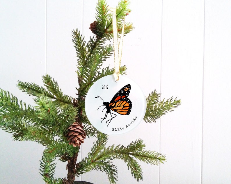 Personalized Butterfly Christmas Ornament  Frosted Glass image 0