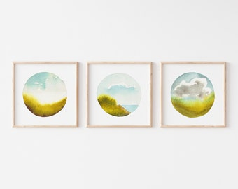 Orb Landscape Art Print Set of 3 - Dreamy Watercolor Landscape Paintings - Instant Gallery Wall - Gift for Nature Lover