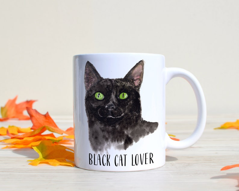 Halloween Coffee Mug  Black Cat Mug  Halloween Mug  Black image 0