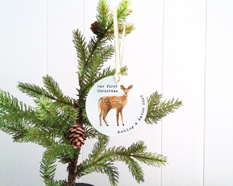 Our First Christmas Glass Ornament  Personalized First image 0