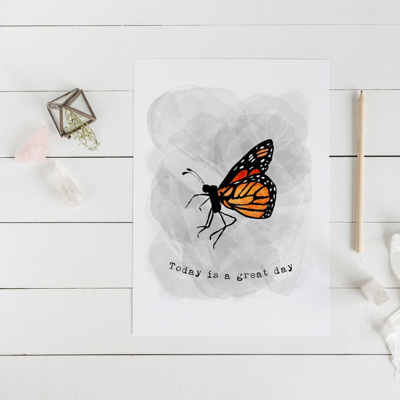 Today Is a Great Day Card  Monarch Butterfly Card  image 0