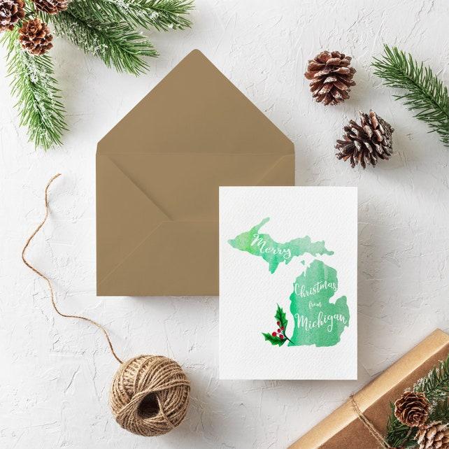 Watercolor Michigan Christmas Card Set - Merry Christmas From Michigan - Holly Christmas Cards - Boxed Card Set - Made in Michigan Set of 10