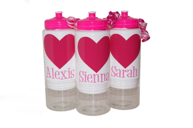 Personalized Sip n' Stow Water Bottles  Hearts image 0