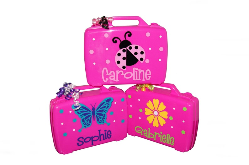 Personalized Carrying Case  Ladybug / Flower / Butterfly image 0