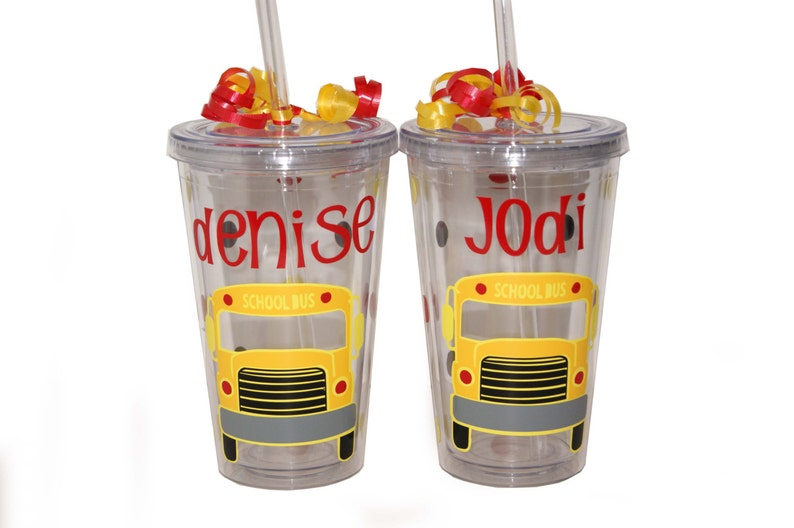 Personalized Acrylic Tumbler  School Bus image 0