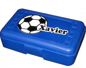 Personalized Pencil Box / Art Supply Box - Soccer