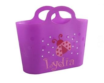 Personalized Bubble Tote / Gift Basket  / Beach Bag - Ladybug, Owl