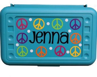 Personalized Pencil Box / Art Supply Box - Peace