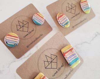 rainbow stripe + gold stud earrings