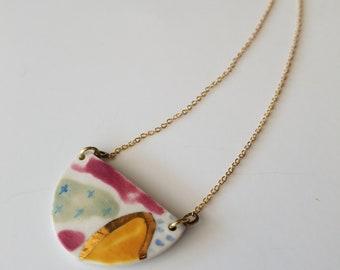 half moon colorful pendant necklace, porcelain