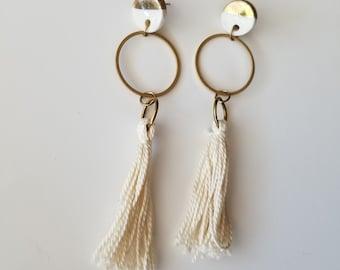 tassel earrings, hoop earrings, porcelain earrings, stud earrings, gold dipped earrings, modern earrings, long earrings, ceramic earrings