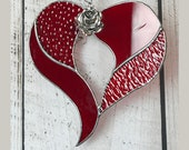 Heart and Rose Stained Glass Suncatcher - FREE Shipping in USA