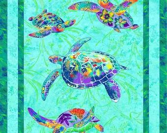 Sea Turtle fabric Paintbrush Studios Calypso turtles panel