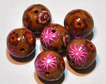 New Hand Made 7 round Floral polymer clay 17 mm beads by myfiori