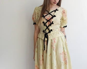 1930s Taffeta Two Piece Set/ 30s 40s Costume Blouse and Skirt/ Floral Lace Up Corset/ Marie Antoinette/ Rococo/ Medium