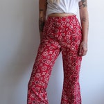 Vintage 70s Bandana Printed Cotton Bell Bottom Pants/ 1970s High Waisted Cropped Western Trousers/Size 26