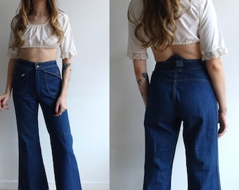 87e388f1996 Vintage 70s Back Buckle High Waisted Bell Bottom Denim  1970s Dark Wash  Faded Glory Wide Leg Jeans  Size 28