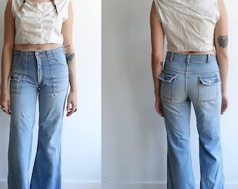 203aa454075 Vintage 70s Hip Hugger Bell Bottoms  1970s High Waisted Light Wash Retro  Wide Leg Denim  size small