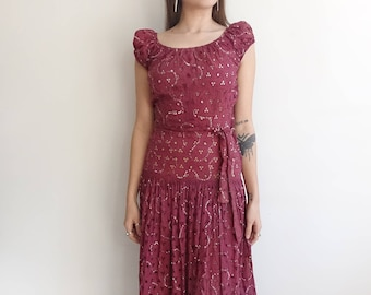 Vintage 30s Cotton Eyelet and Sequin Dress/ 1930s Drop Waist Gown/ small medium