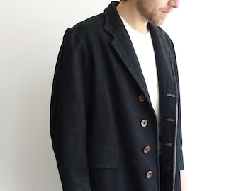 1910s Black Wool Frock Coat/ Edwardian Mens Long Line Jacket with Throat Strap /Size Small
