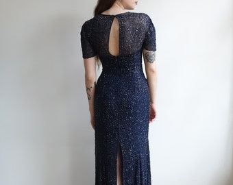 Vintage 80s Does 30s Beaded Sequin Gown/Navy Blue Silk Formal Long Dress with Soutache Beading/ Short Sleeve Deco / Small