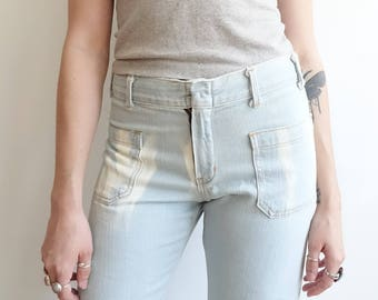 Vintage 70s Light Wash Bleached Out Sailor Bells/ Patch Pockets/ Mid Rise Flares/Size Small