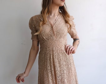 52333df50d02 Vintage 30s Lace Dress/ 1930s Beige Floral Sheer Cotton Lace Bias Summer  Spring Dress/ Size Small Medium