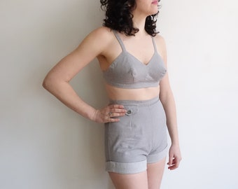 1baf275594c Vintage 50s Jantzen Cotton Two Piece Set/ 1950s Grey Playsuit Swimwear/High  Waisted Bikini/ Size Medium