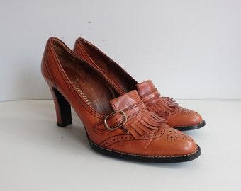 2c45453db8a Vintage 70s Leather Loafer Heels 1970s High Heeled Brouges  Boho Hippie   Size