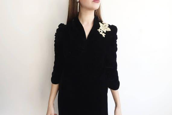 Vintage 30s Black Silk Velvet Dress with Lace App… - image 3